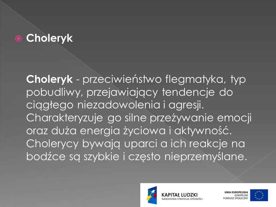 Choleryk Choleryk - przeciwieństwo flegmatyka, typ pobudliwy, przejawiający tendencje do ciągłego niezadowolenia i agresji. Charakteryzuje go silne pr