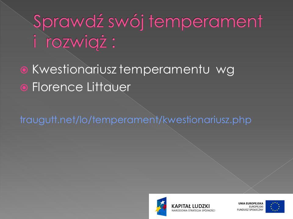 Kwestionariusz temperamentu wg Florence Littauer traugutt.net/lo/temperament/kwestionariusz.php