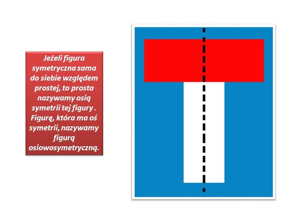Jeżeli figura symetryczna sama do siebie względem prostej, to prosta nazywamy osią symetrii tej figury. Figurę, która ma oś symetrii, nazywamy figurą