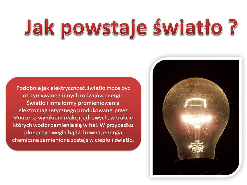 Podobnie jak elektryczność, światło może być otrzymywane z innych rodzajów energii. Światło i inne formy promieniowania elektromagnetycznego produkowa
