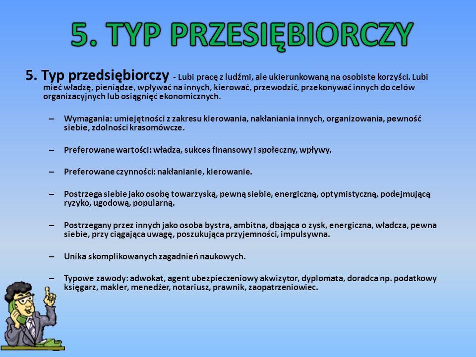 6.Typ konwencjonalny – lubi zajęcia i zawody z danymi, ich porządkowaniem i strukturalizowaniem.