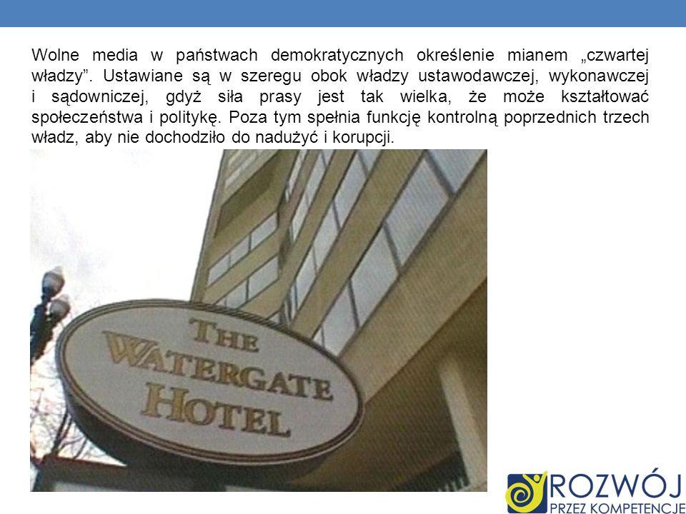Wolne media w państwach demokratycznych określenie mianem czwartej władzy.