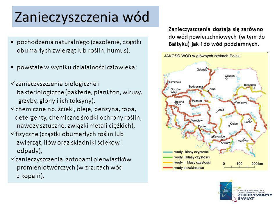 Zanieczyszczenia wód Zanieczyszczenia dostają się zarówno do wód powierzchniowych (w tym do Bałtyku) jak i do wód podziemnych.