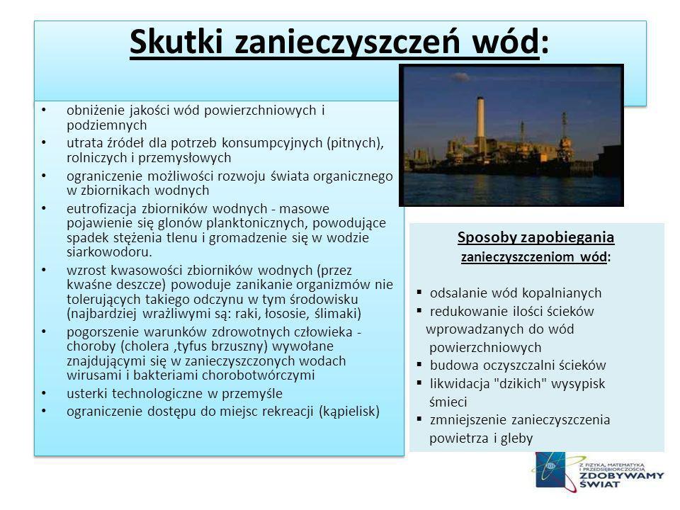 Skutki zanieczyszczeń wód: obniżenie jakości wód powierzchniowych i podziemnych utrata źródeł dla potrzeb konsumpcyjnych (pitnych), rolniczych i przem