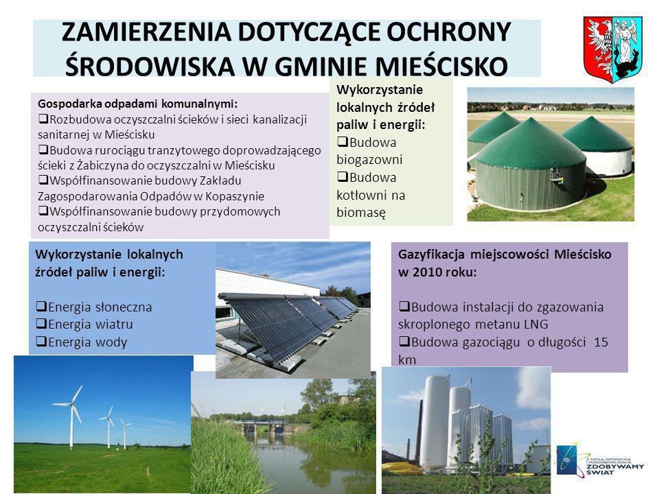 ZAMIERZENIA DOTYCZĄCE OCHRONY ŚRODOWISKA W GMINIE MIEŚCISKO Gazyfikacja miejscowości Mieścisko w 2010 roku: Budowa instalacji do zgazowania skroplonego metanu LNG Budowa gazociągu o długości 15 km Wykorzystanie lokalnych źródeł paliw i energii: Budowa biogazowni Budowa kotłowni na biomasę Wykorzystanie lokalnych źródeł paliw i energii: Energia słoneczna Energia wiatru Energia wody Gospodarka odpadami komunalnymi: Rozbudowa oczyszczalni ścieków i sieci kanalizacji sanitarnej w Mieścisku Budowa rurociągu tranzytowego doprowadzającego ścieki z Żabiczyna do oczyszczalni w Mieścisku Współfinansowanie budowy Zakładu Zagospodarowania Odpadów w Kopaszynie Współfinansowanie budowy przydomowych oczyszczalni ścieków