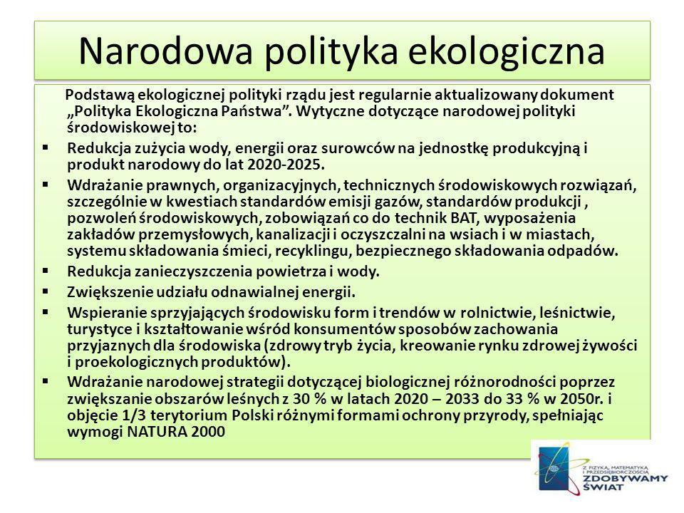 Narodowa polityka ekologiczna Podstawą ekologicznej polityki rządu jest regularnie aktualizowany dokument Polityka Ekologiczna Państwa. Wytyczne dotyc
