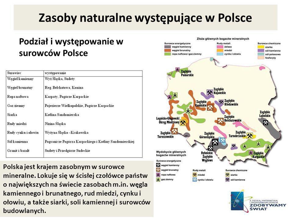 Zasoby naturalne występujące w Polsce Podział i występowanie w surowców Polsce Polska jest krajem zasobnym w surowce mineralne. Lokuje się w ścisłej c