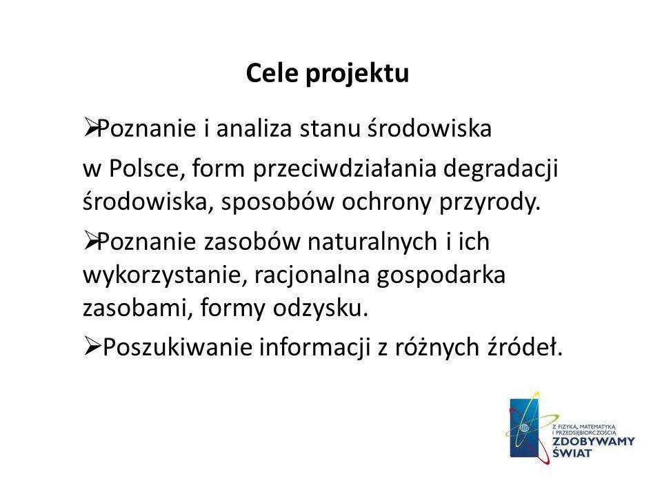 Cele projektu Poznanie i analiza stanu środowiska w Polsce, form przeciwdziałania degradacji środowiska, sposobów ochrony przyrody. Poznanie zasobów n