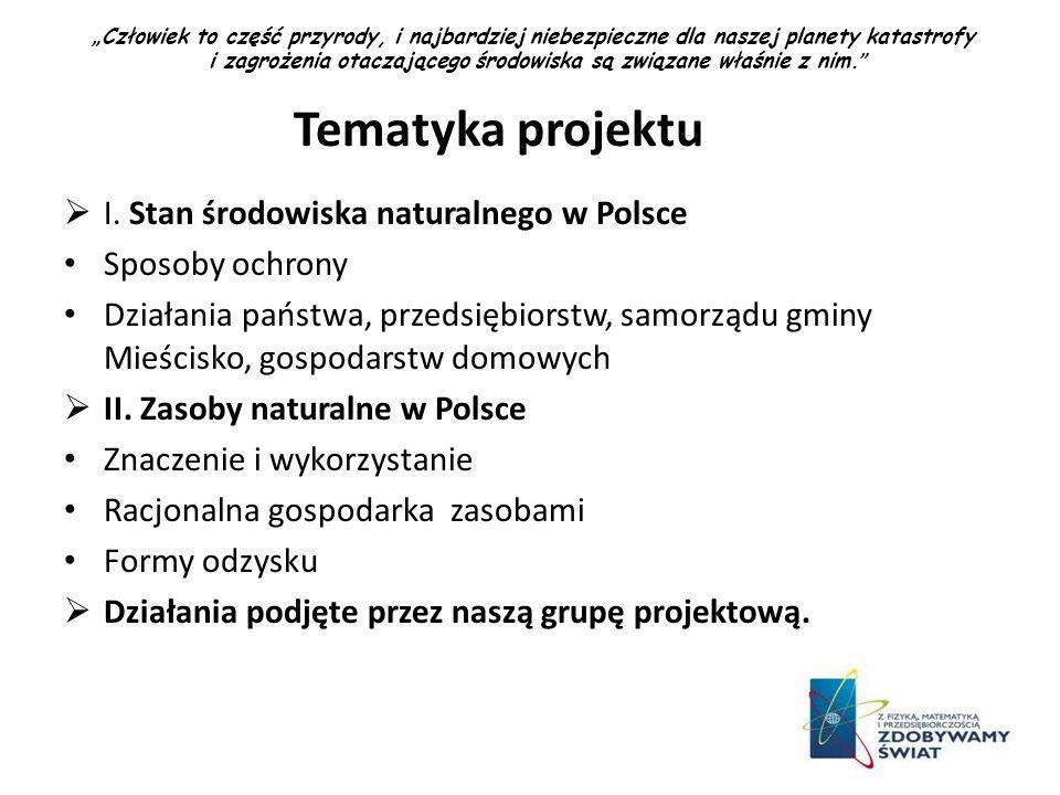 Tematyka projektu I. Stan środowiska naturalnego w Polsce Sposoby ochrony Działania państwa, przedsiębiorstw, samorządu gminy Mieścisko, gospodarstw d