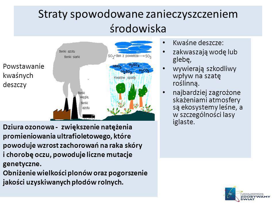 Straty spowodowane zanieczyszczeniem środowiska Kwaśne deszcze: zakwaszają wodę lub glebę, wywierają szkodliwy wpływ na szatę roślinną. najbardziej za