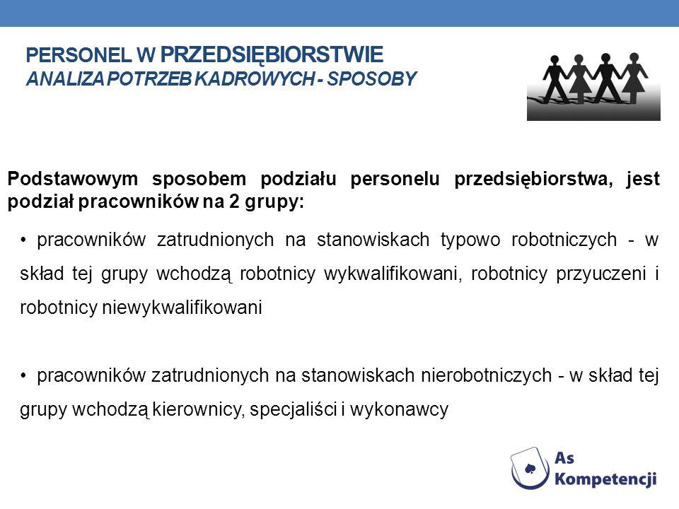 PERSONEL W PRZEDSIĘBIORSTWIE ANALIZA POTRZEB KADROWYCH - SPOSOBY Podstawowym sposobem podziału personelu przedsiębiorstwa, jest podział pracowników na