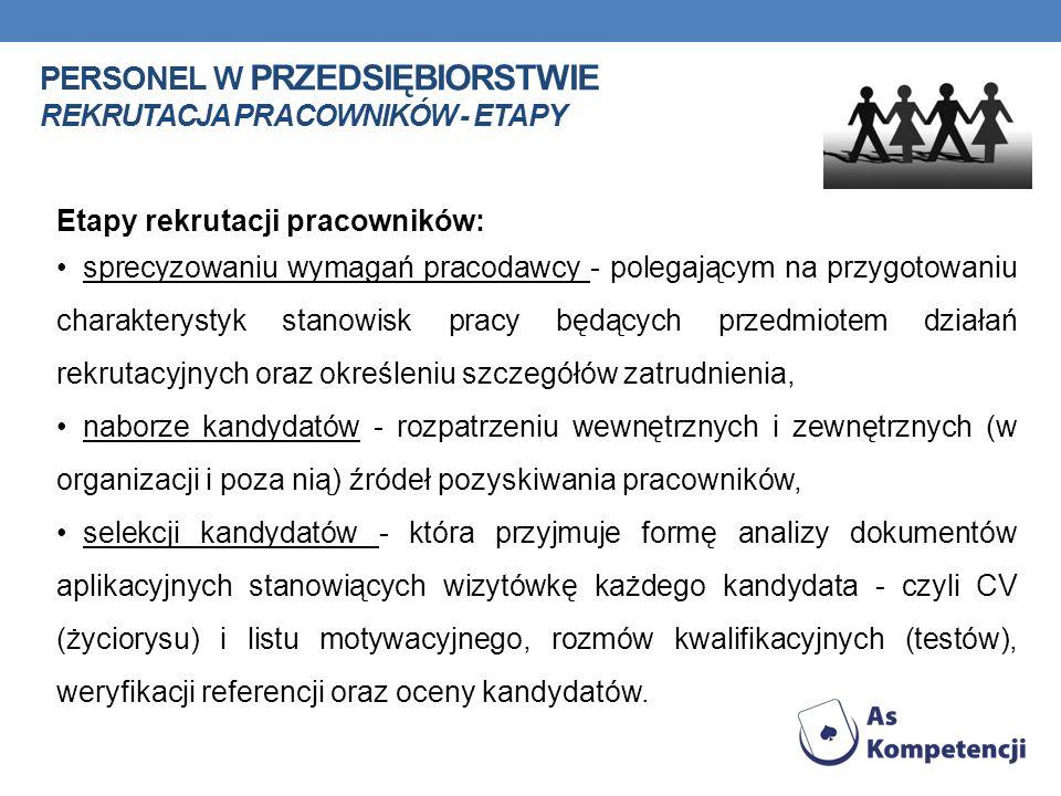 PERSONEL W PRZEDSIĘBIORSTWIE REKRUTACJA PRACOWNIKÓW - ETAPY Etapy rekrutacji pracowników: sprecyzowaniu wymagań pracodawcy - polegającym na przygotowa