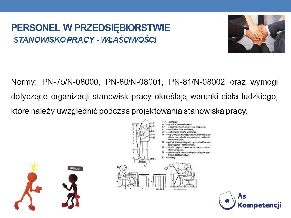 PERSONEL W PRZEDSIĘBIORSTWIE STANOWISKO PRACY - WŁAŚCIWOŚCI Normy: PN-75/N-08000, PN-80/N-08001, PN-81/N-08002 oraz wymogi dotyczące organizacji stano