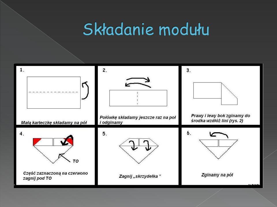 Figury powstają w wyniku połączenia powstałych wcześniej zgodnie z zasadami origami elementów ( modułów). Takie pojedyncze moduły są łączone w całość