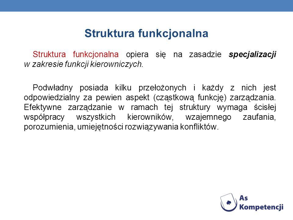 Struktura funkcjonalna Struktura funkcjonalna opiera się na zasadzie specjalizacji w zakresie funkcji kierowniczych. Podwładny posiada kilku przełożon