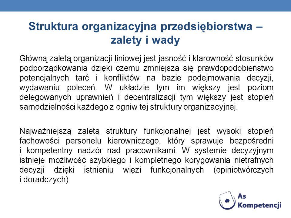 Struktura organizacyjna przedsiębiorstwa – zalety i wady Główną zaletą organizacji liniowej jest jasność i klarowność stosunków podporządkowania dzięki czemu zmniejsza się prawdopodobieństwo potencjalnych tarć i konfliktów na bazie podejmowania decyzji, wydawaniu poleceń.