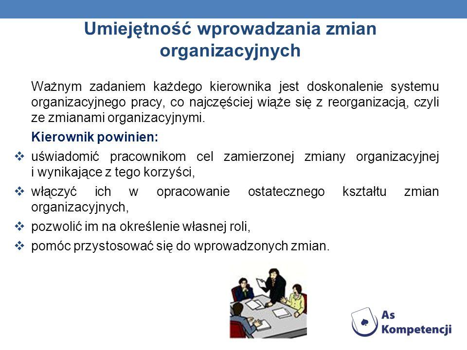 Umiejętność wprowadzania zmian organizacyjnych Ważnym zadaniem każdego kierownika jest doskonalenie systemu organizacyjnego pracy, co najczęściej wiąże się z reorganizacją, czyli ze zmianami organizacyjnymi.