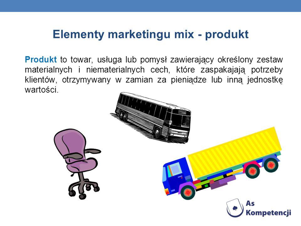 Elementy marketingu mix - produkt Produkt to towar, usługa lub pomysł zawierający określony zestaw materialnych i niematerialnych cech, które zaspakajają potrzeby klientów, otrzymywany w zamian za pieniądze lub inną jednostkę wartości.