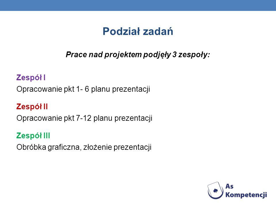 Podział zadań Prace nad projektem podjęły 3 zespoły: Zespół I Opracowanie pkt 1- 6 planu prezentacji Zespół II Opracowanie pkt 7-12 planu prezentacji