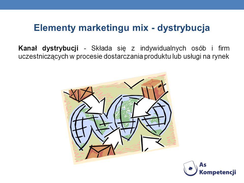 Elementy marketingu mix - dystrybucja Kanał dystrybucji - Składa się z indywidualnych osób i firm uczestniczących w procesie dostarczania produktu lub usługi na rynek