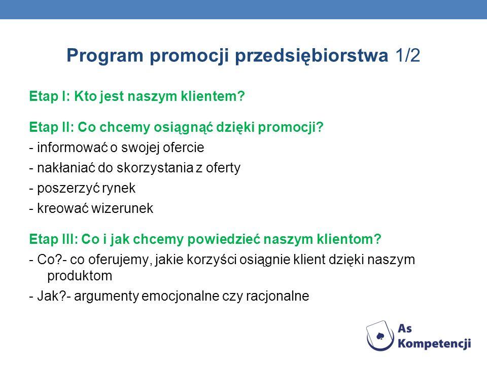 Program promocji przedsiębiorstwa 1/2 Etap I: Kto jest naszym klientem? Etap II: Co chcemy osiągnąć dzięki promocji? - informować o swojej ofercie - n
