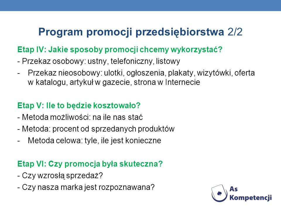 Program promocji przedsiębiorstwa 2/2 Etap IV: Jakie sposoby promocji chcemy wykorzystać? - Przekaz osobowy: ustny, telefoniczny, listowy -Przekaz nie