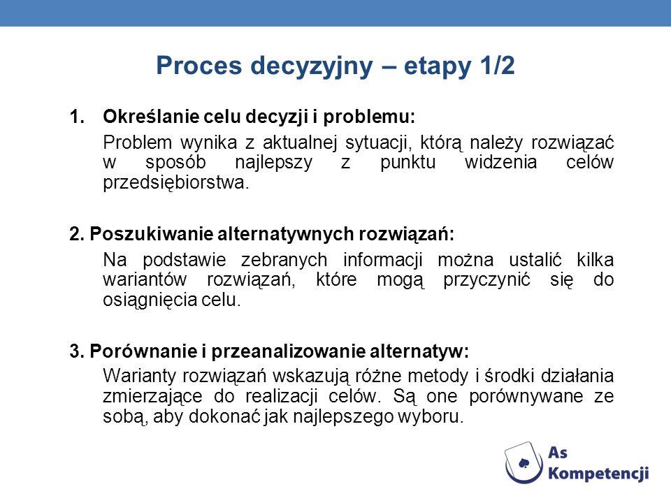 1.Określanie celu decyzji i problemu: Problem wynika z aktualnej sytuacji, którą należy rozwiązać w sposób najlepszy z punktu widzenia celów przedsięb