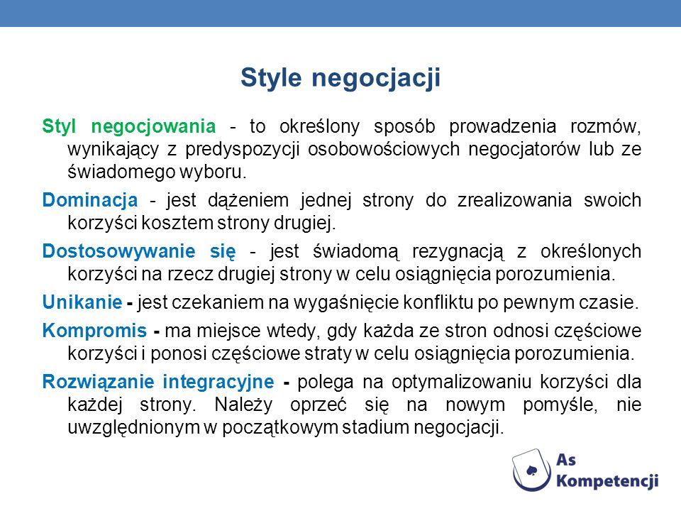 Style negocjacji Styl negocjowania - to określony sposób prowadzenia rozmów, wynikający z predyspozycji osobowościowych negocjatorów lub ze świadomego wyboru.