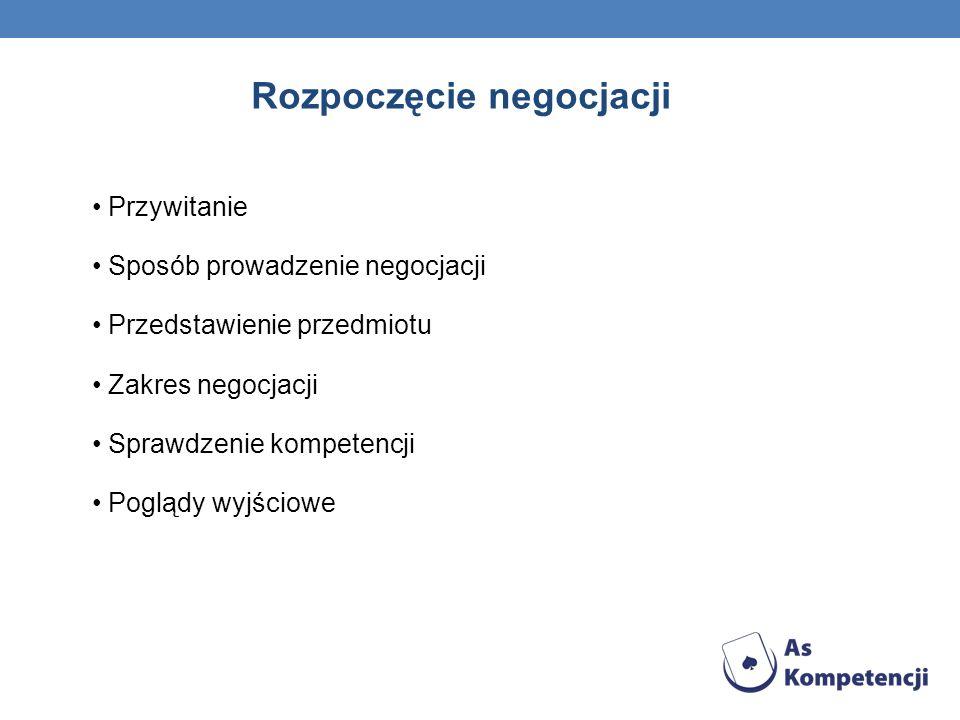 Rozpoczęcie negocjacji Przywitanie Sposób prowadzenie negocjacji Przedstawienie przedmiotu Zakres negocjacji Sprawdzenie kompetencji Poglądy wyjściowe