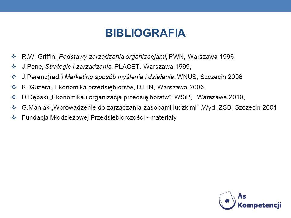 BIBLIOGRAFIA R.W. Griffin, Podstawy zarządzania organizacjami, PWN, Warszawa 1996, J.Penc, Strategie i zarządzania, PLACET, Warszawa 1999, J.Perenc(re