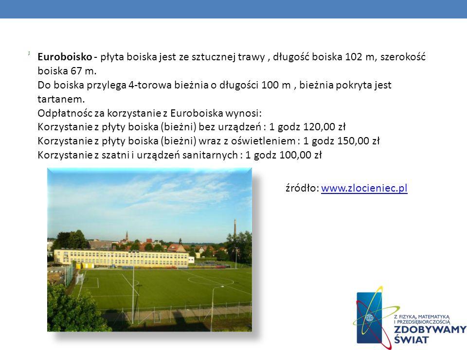 ; Euroboisko - płyta boiska jest ze sztucznej trawy, długość boiska 102 m, szerokość boiska 67 m. Do boiska przylega 4-torowa bieżnia o długości 100 m