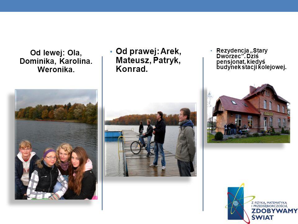 Od lewej: Ola, Dominika, Karolina. Weronika. Od prawej: Arek, Mateusz, Patryk, Konrad. Rezydencja Stary Dworzec. Dziś pensjonat, kiedyś budynek stacji