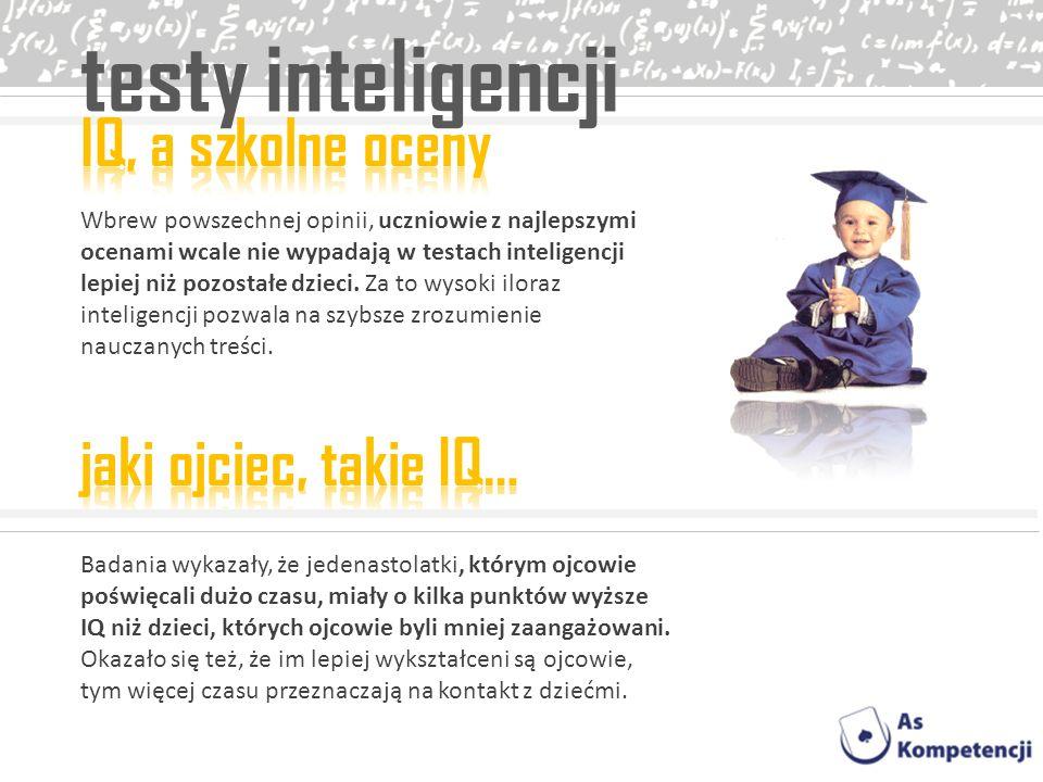 testy inteligencji Wbrew powszechnej opinii, uczniowie z najlepszymi ocenami wcale nie wypadają w testach inteligencji lepiej niż pozostałe dzieci. Za
