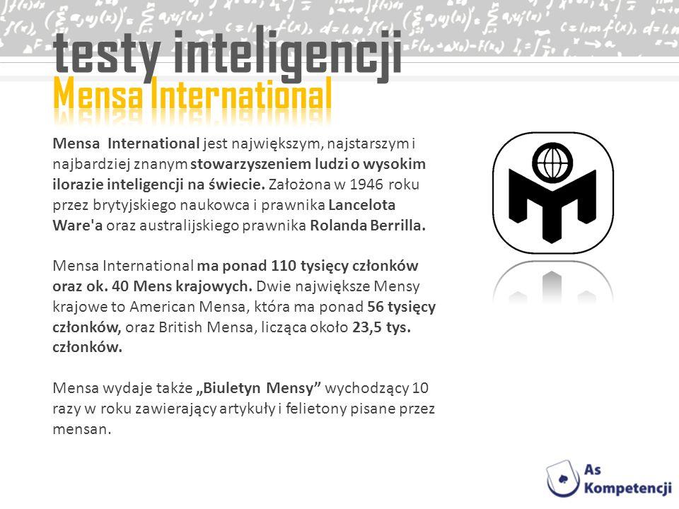 testy inteligencji Mensa International jest największym, najstarszym i najbardziej znanym stowarzyszeniem ludzi o wysokim ilorazie inteligencji na świ