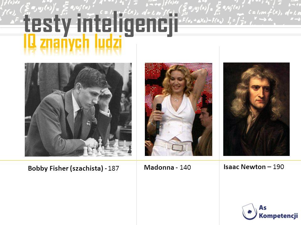 testy inteligencji Bobby Fisher (szachista) - 187 Madonna - 140 Isaac Newton – 190