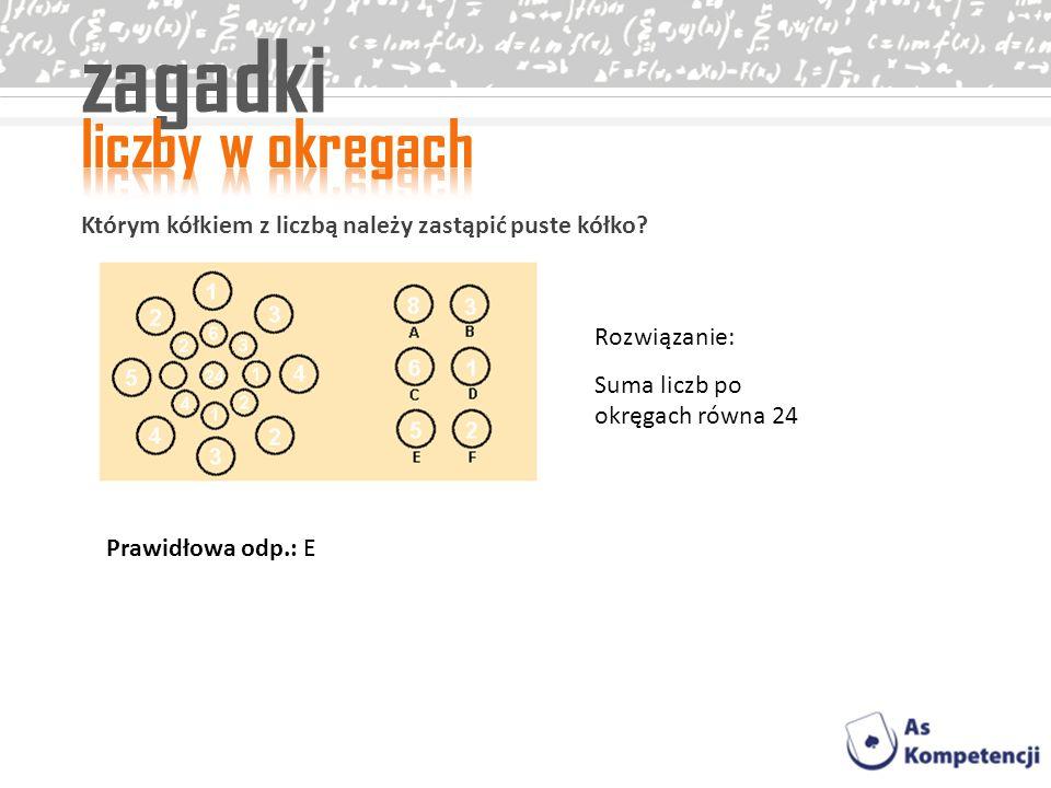 zagadki Którym kółkiem z liczbą należy zastąpić puste kółko? Rozwiązanie: Suma liczb po okręgach równa 24 Prawidłowa odp.: E