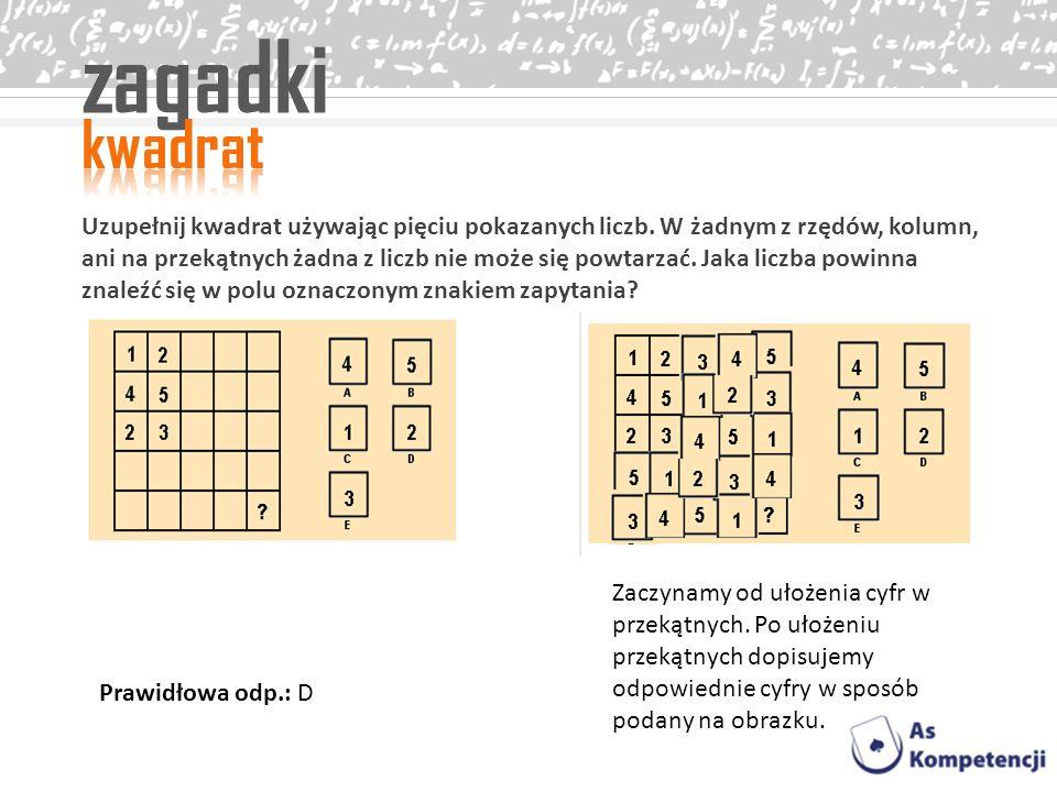 zagadki Uzupełnij kwadrat używając pięciu pokazanych liczb. W żadnym z rzędów, kolumn, ani na przekątnych żadna z liczb nie może się powtarzać. Jaka l