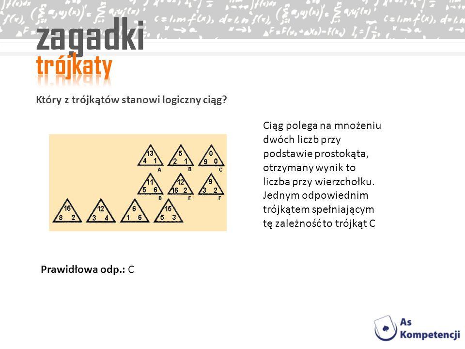 zagadki Który z trójkątów stanowi logiczny ciąg? Ciąg polega na mnożeniu dwóch liczb przy podstawie prostokąta, otrzymany wynik to liczba przy wierzch