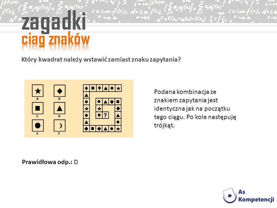 zagadki Który kwadrat należy wstawić zamiast znaku zapytania? Podana kombinacja ze znakiem zapytania jest identyczna jak na początku tego ciągu. Po ko