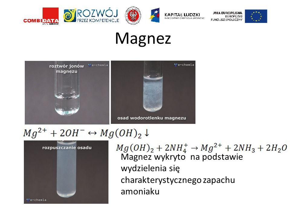 Magnez Magnez wykryto na podstawie wydzielenia się charakterystycznego zapachu amoniaku