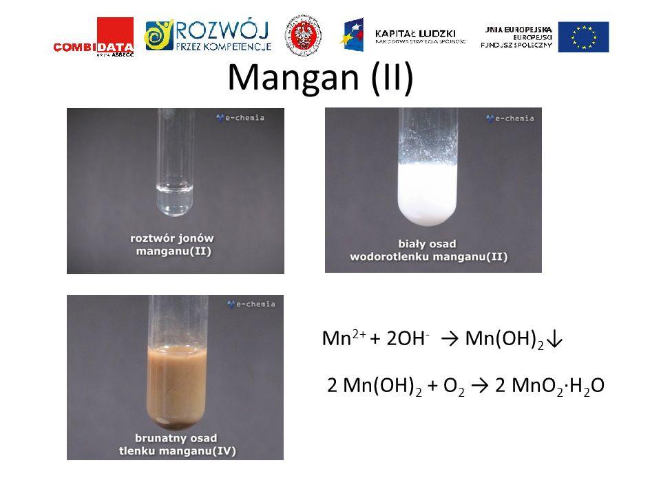 Mangan (II) Mn 2+ + 2OH - Mn(OH) 2 2 Mn(OH) 2 + O 2 2 MnO 2 ·H 2 O