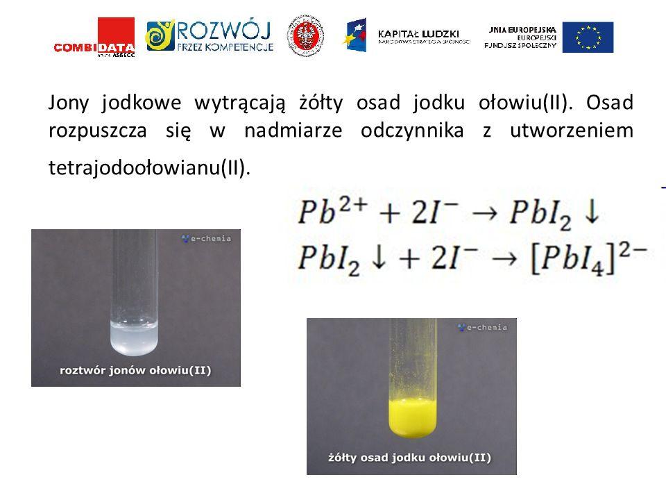 Jony jodkowe wytrącają żółty osad jodku ołowiu(II). Osad rozpuszcza się w nadmiarze odczynnika z utworzeniem tetrajodoołowianu(II).