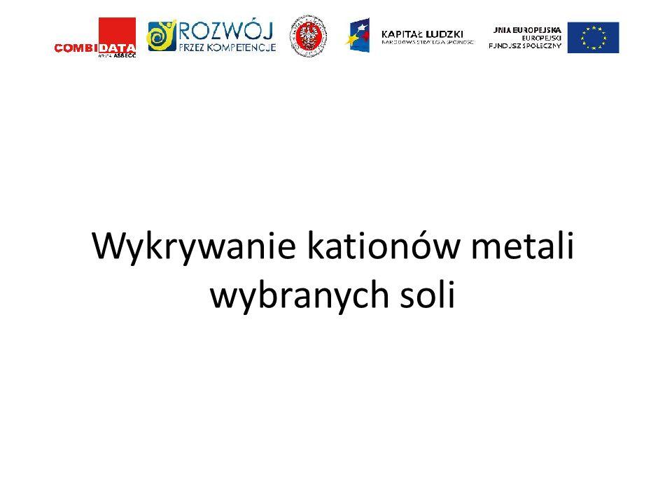 Wykrywanie kationów metali wybranych soli
