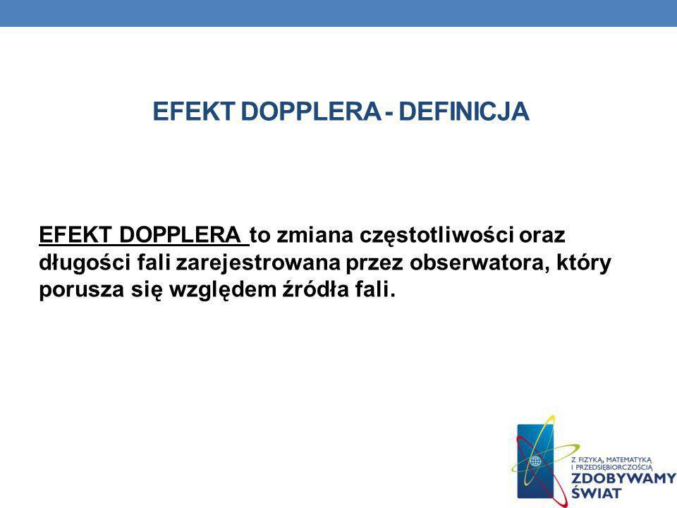 EFEKT DOPPLERA to zmiana częstotliwości oraz długości fali zarejestrowana przez obserwatora, który porusza się względem źródła fali. EFEKT DOPPLERA -