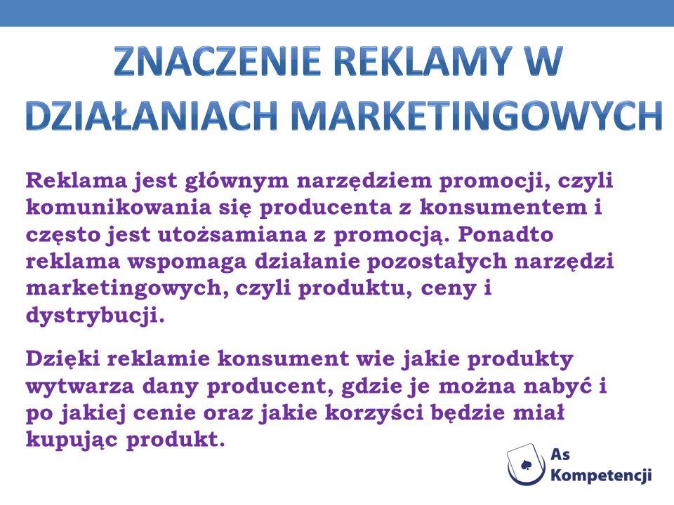 Reklama jest głównym narzędziem promocji, czyli komunikowania się producenta z konsumentem i często jest utożsamiana z promocją. Ponadto reklama wspom