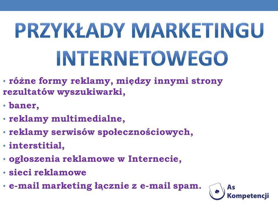 różne formy reklamy, między innymi strony rezultatów wyszukiwarki, baner, reklamy multimedialne, reklamy serwisów społecznościowych, interstitial, ogł