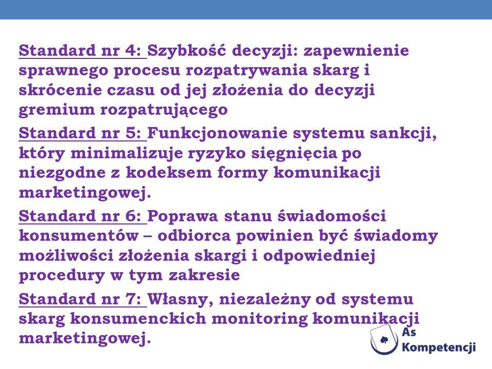 Standard nr 4: Szybkość decyzji: zapewnienie sprawnego procesu rozpatrywania skarg i skrócenie czasu od jej złożenia do decyzji gremium rozpatrującego