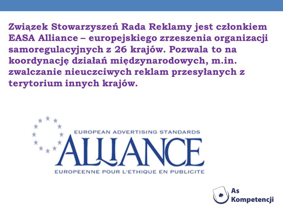 Związek Stowarzyszeń Rada Reklamy jest członkiem EASA Alliance – europejskiego zrzeszenia organizacji samoregulacyjnych z 26 krajów. Pozwala to na koo