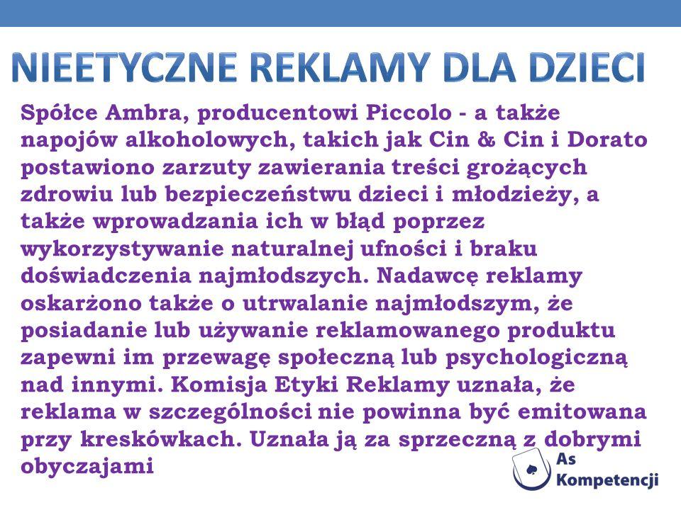 Spółce Ambra, producentowi Piccolo - a także napojów alkoholowych, takich jak Cin & Cin i Dorato postawiono zarzuty zawierania treści grożących zdrowi