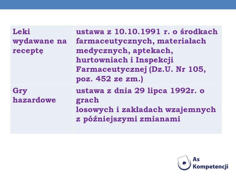 Leki wydawane na receptę ustawa z 10.10.1991 r. o środkach farmaceutycznych, materiałach medycznych, aptekach, hurtowniach i Inspekcji Farmaceutycznej